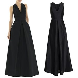 Alfred Sung Black V-Neck Dupioni Evening Gown 20
